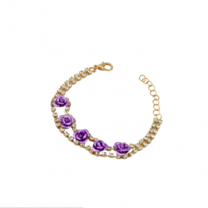 18k Gold Plated Crystal Rose Bracelet