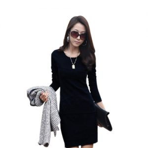 Women Long Sleeve Pleat Office Wear Dress Black