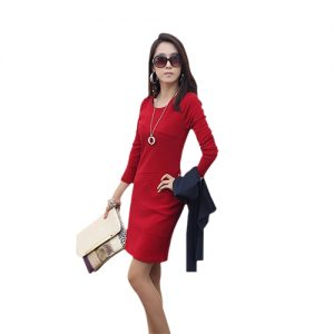 Women Long Sleeve Pleat Office Wear Dress Red