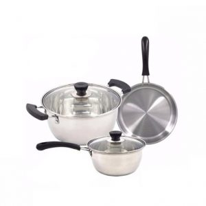 RUIAO 3 Piece Stainless Steel Cookware Set